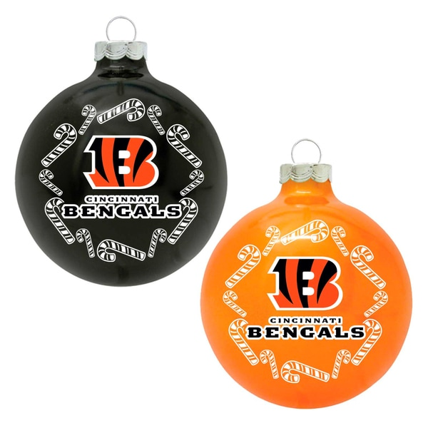 NFL Cincinnati Bengals Home and Away Glass Ornaments