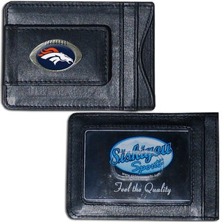NFL Denver Broncos Leather Money Clip and Cardholder
