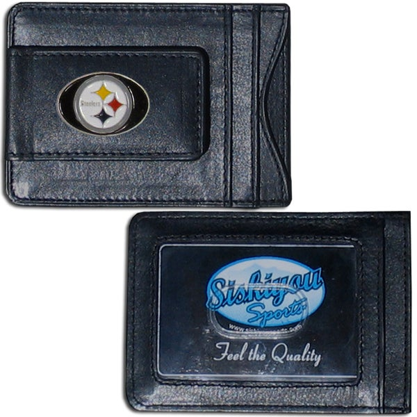 NFL Pittsburgh Steelers Leather Money Clip and Cardholder