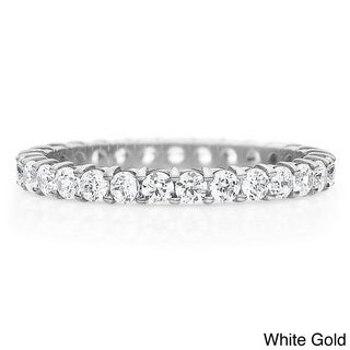 14K Gold 1ct TDW Machine-set Shared Prong Diamond Eternity Band (H-I, I1-I2)