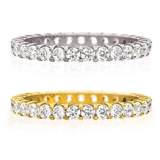 Amore 14K Gold 1ct TDW Machine-set Shared Prong Diamond Eternity Band (H-I, I1-I2)