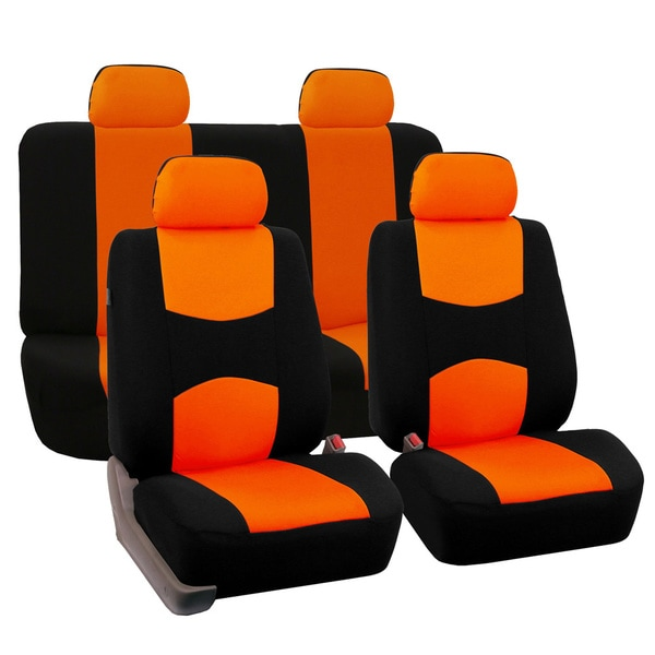 FH Group Orange Car Seat Covers for Front Low Back Buckets and Solid Bench (Full Set)