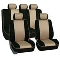 FH Group Beige 3D Air-mesh with Edge Piping Car Seat Covers (Full Set)