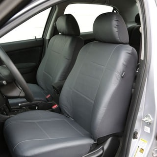FH Group Solid Grey PU Leather Car Seat Covers Airbag-safe and Split Bench (Full Set)