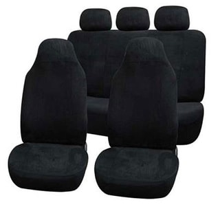 FH Group Black Suede Car Seat Covers Front High Back Buckets and Split Bench (Full Set)