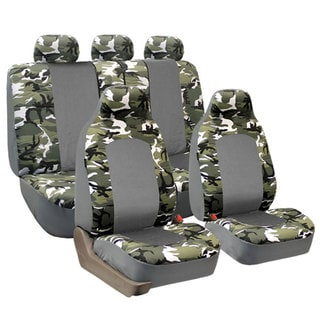FH Group Light Grey Camouflage Airbag-safe Car Seat Covers (Full Set)