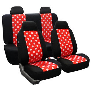 FH Group Red and Black Polka Dots Car Seat Covers (Full Set)