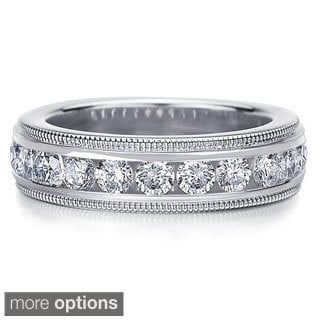 14K Gold 2ct TDW Machine-set Milgrain Edge Diamond Wedding Band (H-I, I1-I2)