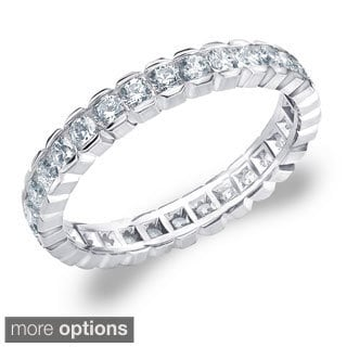 14K Gold 1ct TDW Machine-set Round Box Set Diamond Eternity Band (H-I, I1-I2)