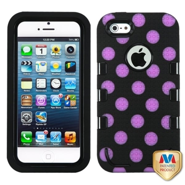 INSTEN Polka Dots TUFF eNUFF Hybrid Phone Case Cover for Apple iPhone 5/ 5S