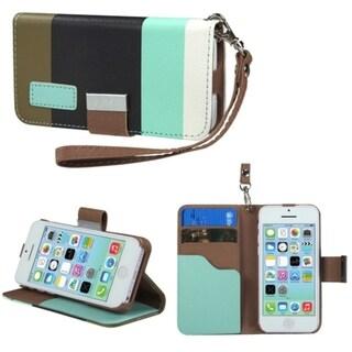 BasAcc Baby Blue/ Black/ Grey MyJacket Wallet Case for Apple iPhone 5C