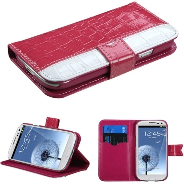 INSTEN Hot Pink/ White Wallet Phone Case Cover for Samsung Galaxy S3