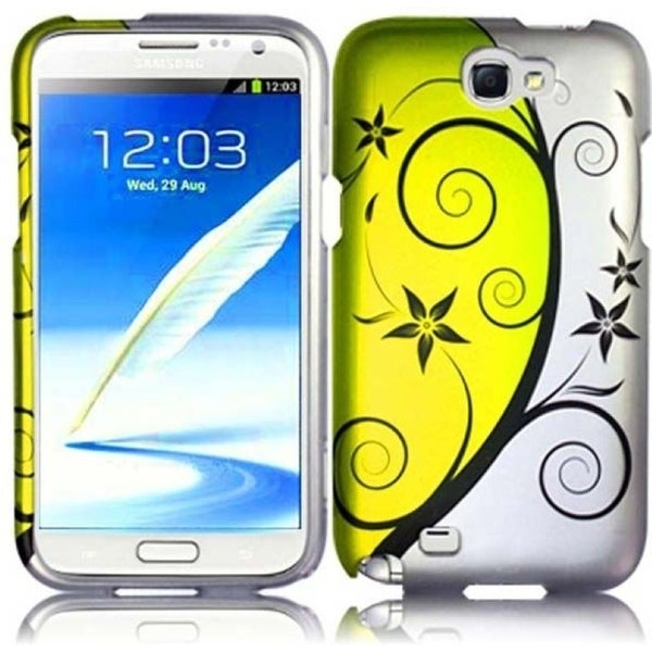 INSTEN Yellow/ White Pleasant Swirl Rubberized Matte Hard Plastic PC Snap-on Phone Case Cover for Samsung Galaxy Note II