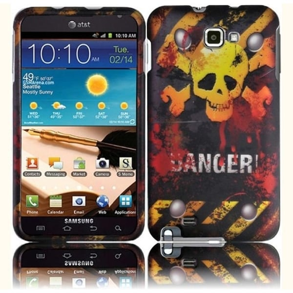 INSTEN Danger Rubberized Hard Plastic Snap-on Phone Case Cover for Samsung Galaxy Note 1st Generation/ Note LTE