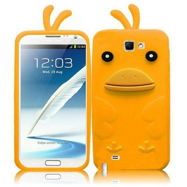 INSTEN Premium Yellow Duck 3D Rubber Soft Silicone Soft Skin Gel Phone Case Cover for Samsung Galaxy Note II