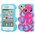 BasAcc Hot Pink/ Baby Blue Octopus Pastel Case for Apple iPhone 4S/ 4