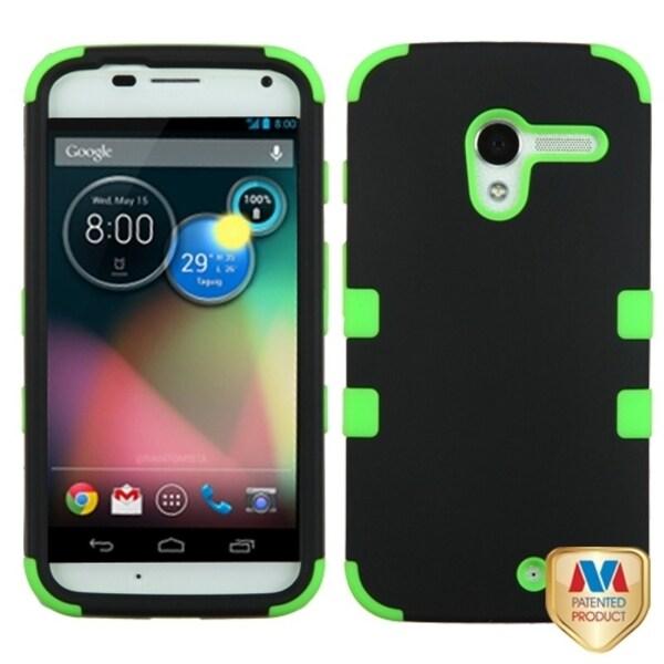 INSTEN Black/ Electric Green TUFF Hybrid Phone Case Cover for Motorola Moto X