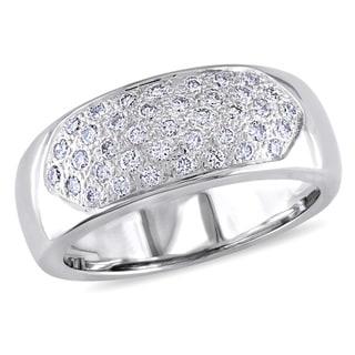 Miadora Signature Collection 18k White Gold 1/2ct TDW Pave Diamond Ring (G-H, SI1-SI2)