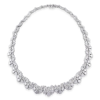 Miadora 18k White Gold 60ct TDW Diamond Flower Necklace (G-H, I1-I2)