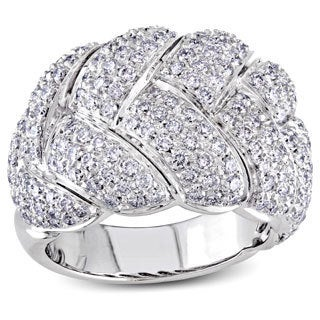 Miadora 18k White Gold 3ct TDW Diamond Basket Weave Ring (G-H, SI2-I1)