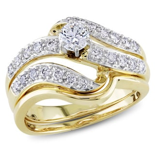 Miadora 14k Yellow Gold 3/4ct TDW Diamond Bridal Ring Set (H-I, I1-I2)
