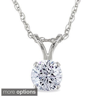 Miadora 14k Gold 1/2ct TDW Diamond Solitaire Necklace (J-K, I2-I3)