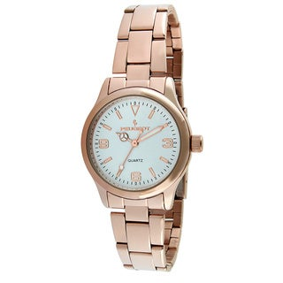 Peugeot Women's '7064RG' Square Rose Goldtone and White Enamel Link Bracelet Watch