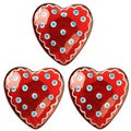 Set of 3 Red Heart Cabinet Knobs (Bulgaria)