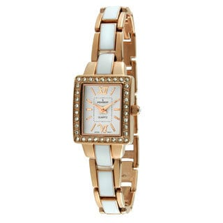 Women's Square Link Rose Gold and White Enamel Bracelet Watch