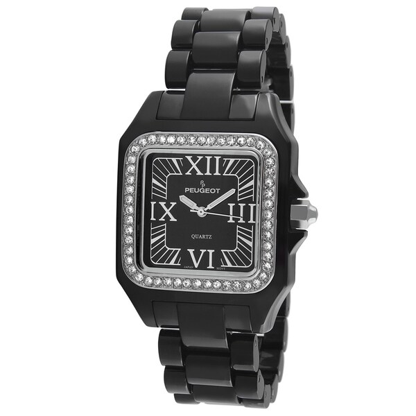Peugeot Women's '7062BK' Swarovski Crystal Bezel Black Acrylic Watch