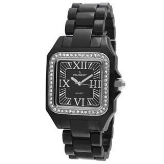 Peugeot Women's '7062BK' Swarovski Crystal Bezel Black Acrylic Watch