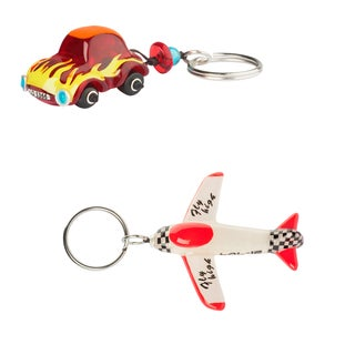 Set of 2 Airplane and Car Keychains (Bulgaria)