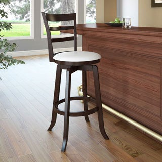 CorLiving 'Woodgrove' Espresso and White Leatherette Wooden Barstool