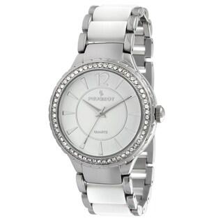 Peugeot Women's '7049WT' Silver-Tone Swarovski Crystal Accented Bracelet Watch