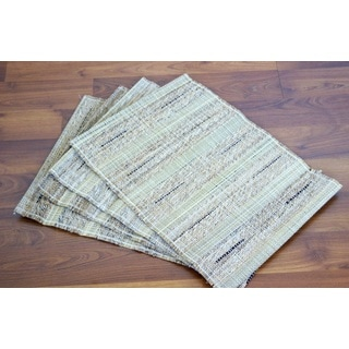 Set of 4 Handwoven Natural Placemats (India)