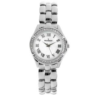 Peugeot Women's '7037S' Swarovski Crystal Bezel Silver-Tone Bracelet Watch