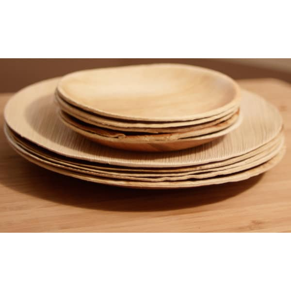 Pack of 100 Compostable Round Palm Leaf Plates (India)