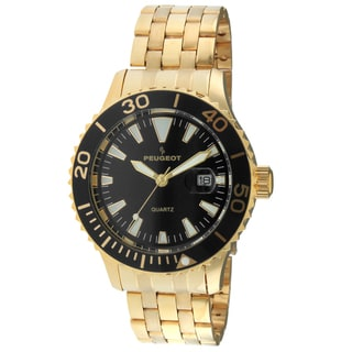Peugeot Men's 1028GBK Gold-Tone Ratchet Black Sport Bezel Watch