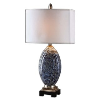 Uttermost Latah 1-light Mottled Blue Glazed Table Lamp