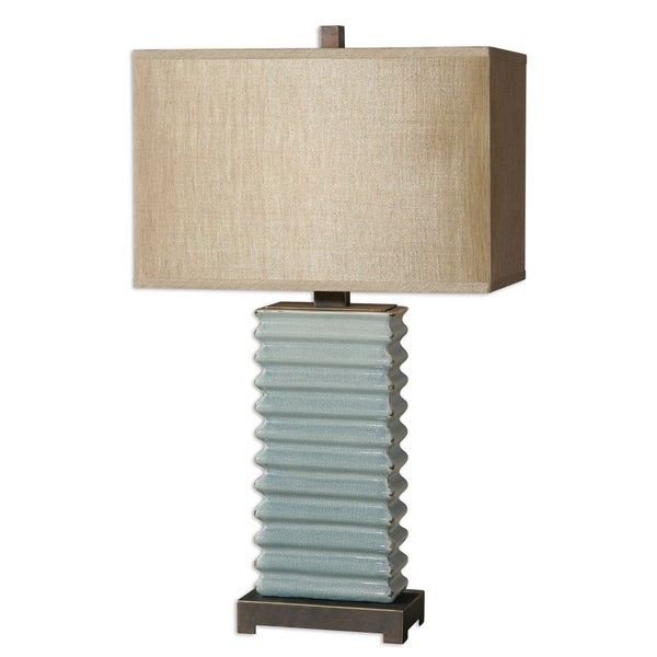 lupara 1 light blue ceramic table lamp overstock shopping great. Black Bedroom Furniture Sets. Home Design Ideas