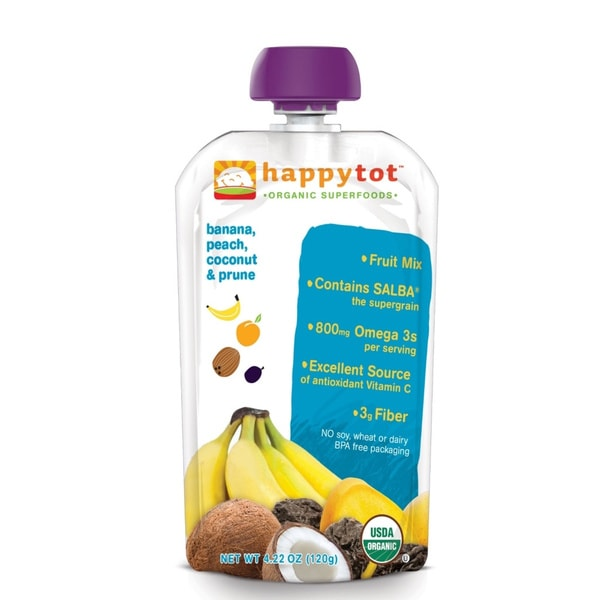Happy Baby Stage 4 Tot Banana, Peach, Prunes & Coconut Food Pouch (Pack of 12)