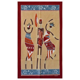 Hand-painted Cream and Red 'Ladies and Warrior' African Tapestry (Zambia)