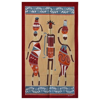 Hand-painted Cream and Blue 'Ladies and Warrior' African Tapestry (Zambia)