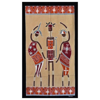 Hand-painted Cream and Black 'Ladies and Warrior' African Tapestry (Zambia)
