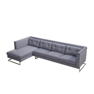 Utopia Modern Micro Suede/ Stainless Steel Sectional