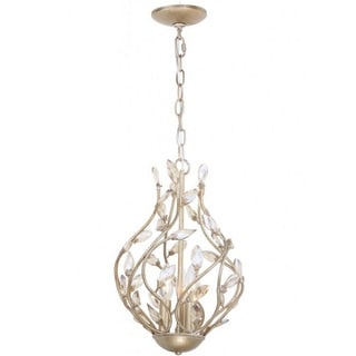 3-light Silver Leaf Mini Chandelier
