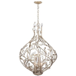 6-light Silver Leaf Chandelier