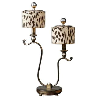 Malawi 2-light Antiqued Silver Table Lamp