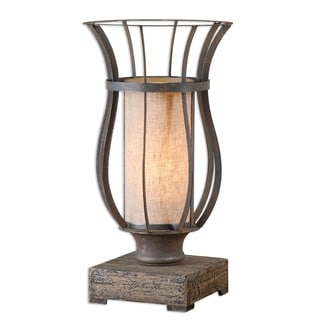 Minozzo 1-light Bronze/ Wood Table Lamp