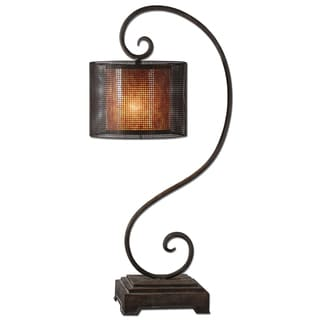 Dalou Scroll 1-light Rustic Dark Bronze Table Lamp